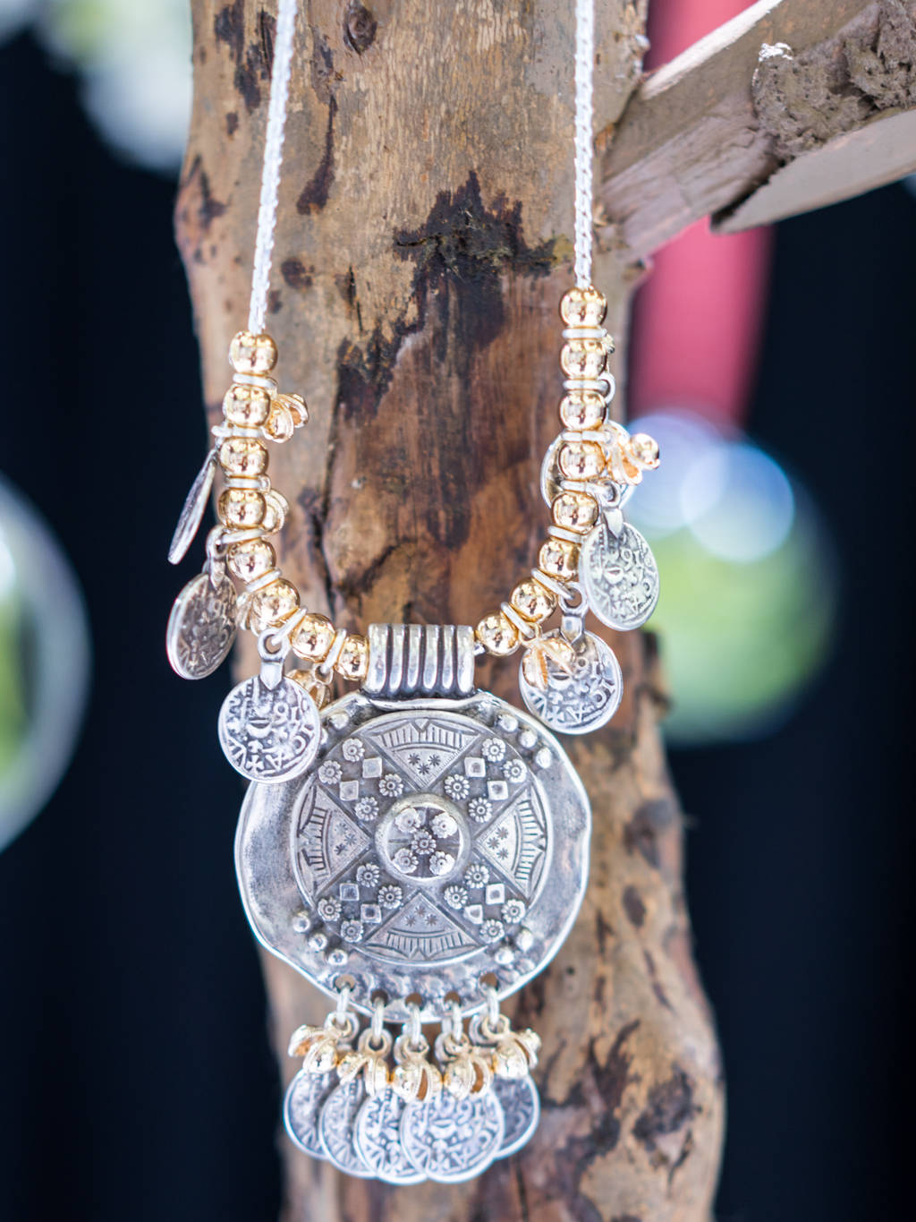 Mixed metals statement necklace for festival vibes